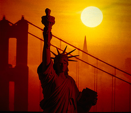 AMR 01 RK0003 01 © Kimball Stock Statue Of Liberty With  Bridge In Background Sunset