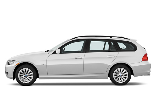 AUT 01 IZ0035 01 © Kimball Stock 2011 BMW 328i Station Wagon White Profile View Studio
