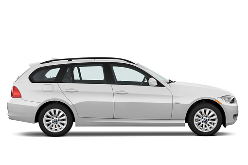 AUT 01 IZ0036 01 © Kimball Stock 2011 BMW 328i Station Wagon White Profile View Studio