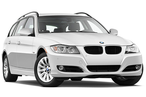AUT 01 IZ0037 01 © Kimball Stock 2011 BMW 328i Station Wagon White 3/4 Front View Studio