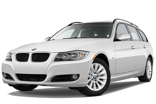 AUT 01 IZ0038 01 © Kimball Stock 2011 BMW 328i Station Wagon White 3/4 Front View Studio