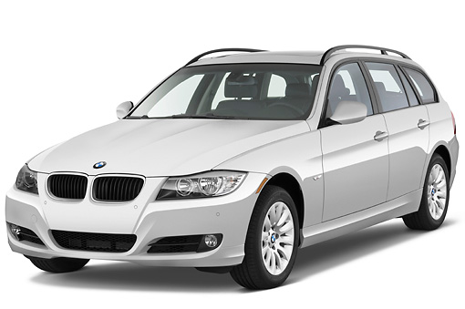 AUT 01 IZ0039 01 © Kimball Stock 2011 BMW 328i Station Wagon White 3/4 Front View Studio