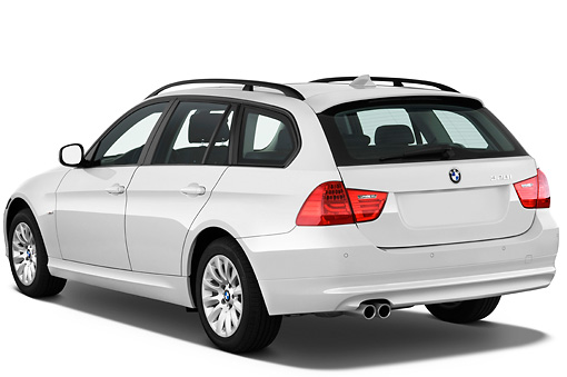 AUT 01 IZ0040 01 © Kimball Stock 2011 BMW 328i Station Wagon White 3/4 Rear View Studio