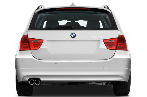 AUT 01 IZ0041 01 © Kimball Stock 2011 BMW 328i Station Wagon White Rear View Studio