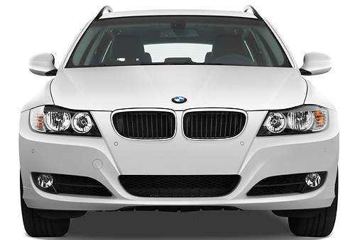 AUT 01 IZ0042 01 © Kimball Stock 2011 BMW 328i Station Wagon White Front View Studio