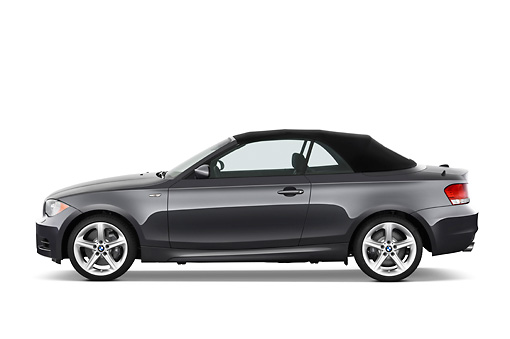 AUT 01 IZ0043 01 © Kimball Stock 2011 BMW 135i Convertible Gray Profile View Studio