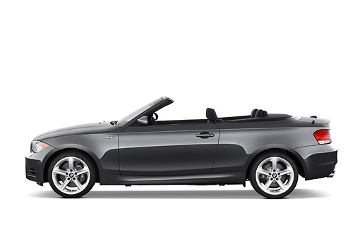 AUT 01 IZ0044 01 © Kimball Stock 2011 BMW 135i Convertible Gray Profile View Studio