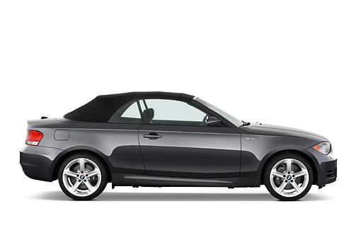AUT 01 IZ0045 01 © Kimball Stock 2011 BMW 135i Convertible Gray Profile View Studio