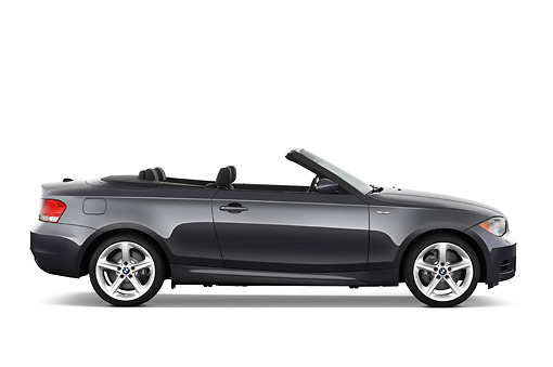 AUT 01 IZ0046 01 © Kimball Stock 2011 BMW 135i Convertible Gray Profile View Studio