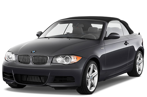 AUT 01 IZ0048 01 © Kimball Stock 2011 BMW 135i Convertible Gray 3/4 Front View Studio
