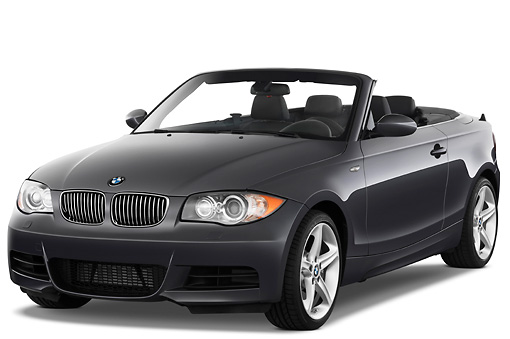 AUT 01 IZ0050 01 © Kimball Stock 2011 BMW 135i Convertible Gray 3/4 Front View Studio