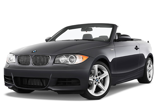 AUT 01 IZ0051 01 © Kimball Stock 2011 BMW 135i Convertible Gray 3/4 Front View Studio