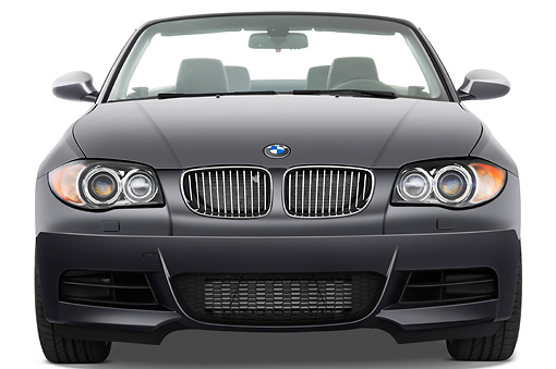 AUT 01 IZ0055 01 © Kimball Stock 2011 BMW 135i Convertible Gray Front View Studio