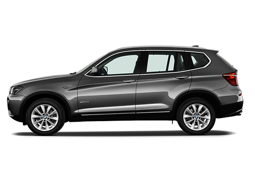 AUT 01 IZ0057 01 © Kimball Stock 2013 BMW X3 xDrive35i SUV Gray Profile View On White Seamless