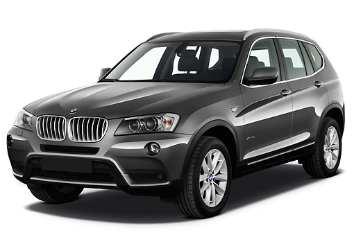 AUT 01 IZ0059 01 © Kimball Stock 2013 BMW X3 xDrive35i SUV Gray 3/4 Front View On White Seamless
