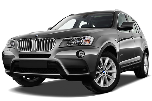 AUT 01 IZ0060 01 © Kimball Stock 2013 BMW X3 xDrive35i SUV Gray 3/4 Front View On White Seamless