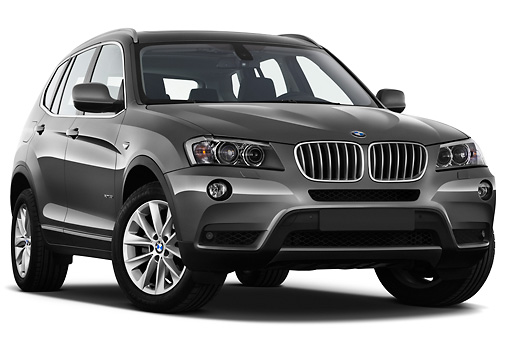 AUT 01 IZ0061 01 © Kimball Stock 2013 BMW X3 xDrive35i SUV Gray 3/4 Front View On White Seamless