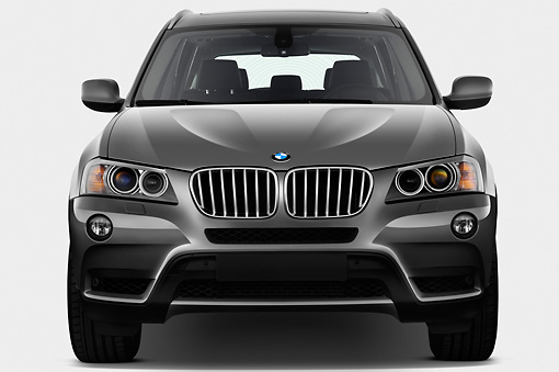 AUT 01 IZ0063 01 © Kimball Stock 2013 BMW X3 xDrive35i SUV Gray Front View On White Seamless