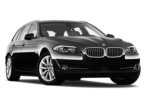 AUT 01 IZ0069 01 © Kimball Stock 2011 BMW 5 Series Wagon Black 3/4 Front View On White Seamless