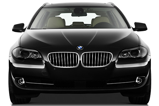 AUT 01 IZ0072 01 © Kimball Stock 2011 BMW 5 Series Wagon Black Front View On White Seamless