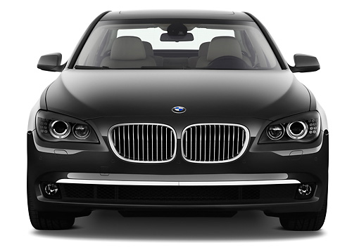 AUT 01 IZ0079 01 © Kimball Stock 2011 BMW 7 Series ActiveHybrid Black Front View On White Seamless