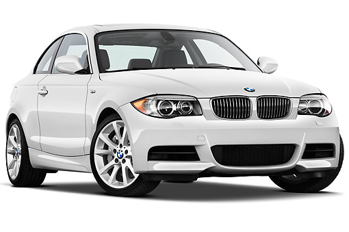 AUT 01 IZ0084 01 © Kimball Stock 2013 BMW 1 Series 135 Coupe White 3/4 Front View On White Seamless