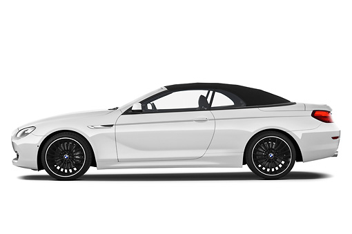 AUT 01 IZ0089 01 © Kimball Stock 2011 BMW 6 Series 640i Convertible White Profile View On White Seamless