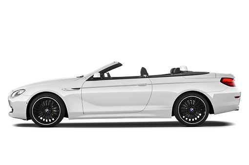 AUT 01 IZ0090 01 © Kimball Stock 2011 BMW 6 Series 640i Convertible White Profile View On White Seamless