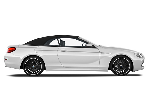 AUT 01 IZ0091 01 © Kimball Stock 2011 BMW 6 Series 640i Convertible White Profile View On White Seamless