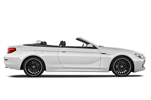 AUT 01 IZ0092 01 © Kimball Stock 2011 BMW 6 Series 640i Convertible White Profile View On White Seamless