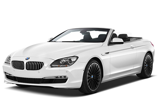 AUT 01 IZ0094 01 © Kimball Stock 2011 BMW 6 Series 640i Convertible White 3/4 Front View On White Seamless