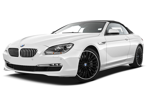AUT 01 IZ0095 01 © Kimball Stock 2011 BMW 6 Series 640i Convertible White 3/4 Front View On White Seamless