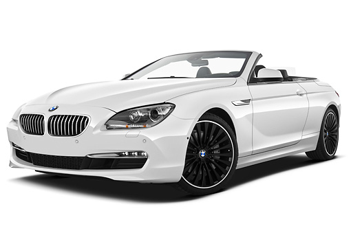AUT 01 IZ0096 01 © Kimball Stock 2011 BMW 6 Series 640i Convertible White 3/4 Front View On White Seamless