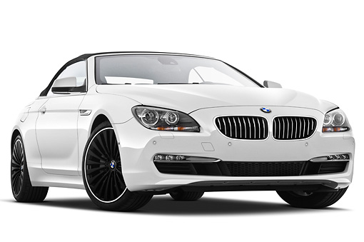 AUT 01 IZ0097 01 © Kimball Stock 2011 BMW 6 Series 640i Convertible White 3/4 Front View On White Seamless