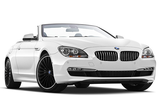 AUT 01 IZ0098 01 © Kimball Stock 2011 BMW 6 Series 640i Convertible White 3/4 Front View On White Seamless