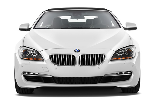 AUT 01 IZ0099 01 © Kimball Stock 2011 BMW 6 Series 640i Convertible White Front View On White Seamless
