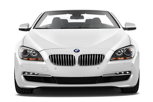 AUT 01 IZ0100 01 © Kimball Stock 2011 BMW 6 Series 640i Convertible White Front View On White Seamless
