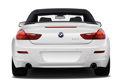 2011 BMW 6 Series 640i Convertible White Rear View On White