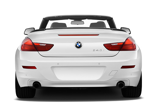 AUT 01 IZ0102 01 © Kimball Stock 2011 BMW 6 Series 640i Convertible White Rear View On White Seamless