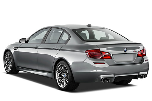 AUT 01 IZ0125 01 © Kimball Stock 2013 BMW M5 Gray 3/4 Rear View On White Seamless
