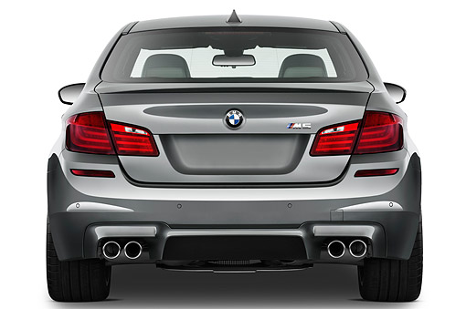 AUT 01 IZ0129 01 © Kimball Stock 2013 BMW M5 Gray Rear View On White Seamless