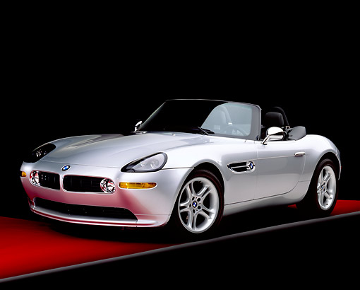 AUT 01 RK0111 05 © Kimball Stock 2000 BMW Z8 Convertible Silver 3/4 Front View On Red Floor Gray Line Studio