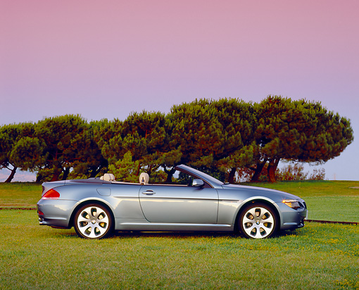 AUT 01 RK0215 01 © Kimball Stock 2005 BMW 645Ci Convertible Blue Profile On Grass Trees Filtered