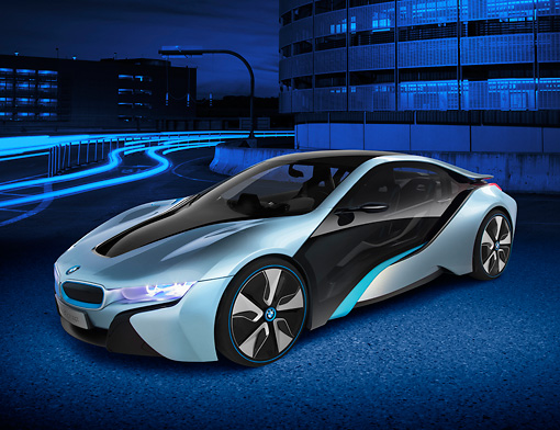 Bmw I8 Hybrid Electric Blue And Black 3 4 Front View On Road By