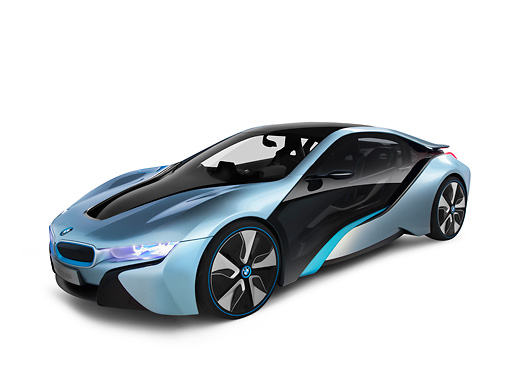 bmw i8 hybrid electric blue and black 3 4 front view on white