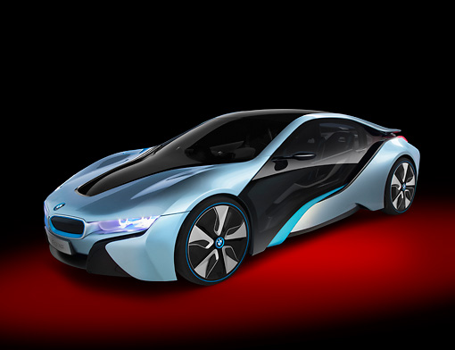 AUT 01 RK0352 01 © Kimball Stock BMW i8 Hybrid/Electric Blue And Black 3/4 Front View In Studio