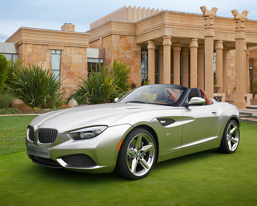 AUT 01 RK0353 01 © Kimball Stock 2013 BMW Zagato Roadster Silver 3/4 Front View On Grass By Building With Columns