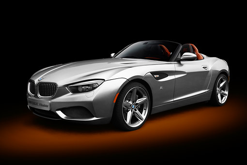 AUT 01 RK0354 01 © Kimball Stock 2013 BMW Zagato Roadster Silver 3/4 Front View In Studio