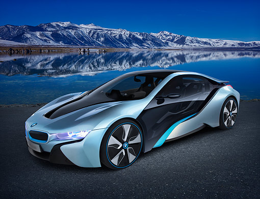 AUT 01 RK0361 01 © Kimball Stock BMW i8 Hybrid/Electric Blue And Black 3/4 Front View On Pavement By Lake