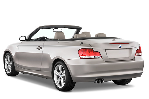 AUT 01 IZ0004 01 © Kimball Stock 2011 BMW 135i Convertible Silver 3/4 Rear View Studio